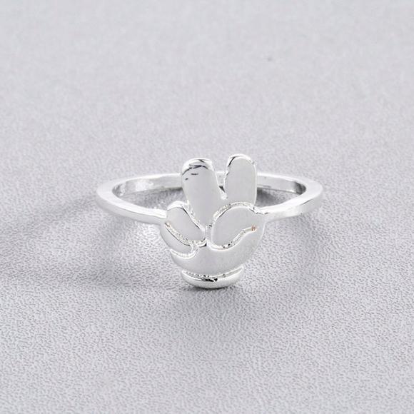 Peace Finger Symbol Emoji Silver Ring Boutique